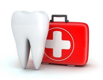 Illustration of tooth next to first aid kit | Dentist Nutley NJ